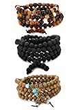 BESTEEL Jewelry 8MM Beads Bracelet for Men and Women Buddha Mens Necklace 108 Beads...