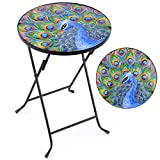 CHRISTOW Bistro Table Glass Top, Small Folding, Garden Gift, Outdoor Patio Decoration, Hand Painted, UV Resistant, Peacock