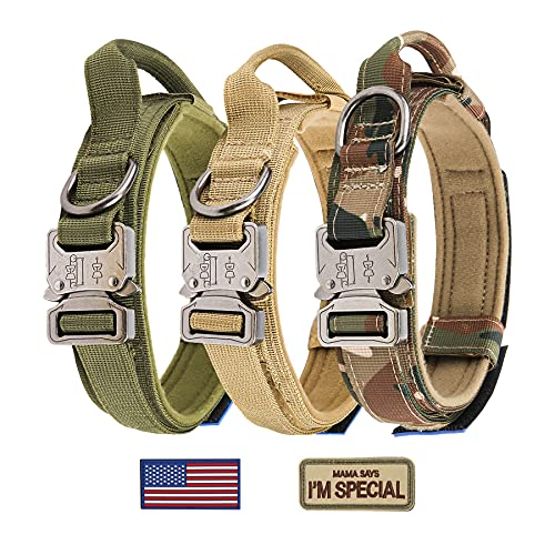 Tactical Dog Collar - KCUCOP Military Dog Collar with 2 Patches 1.5' Width Thick with Handle K9 Collar Dog Collars Adjustable Heavy Duty Metal Buckle for M,L,XL Dogs(XL, Upgrade Green with 2 Patches)