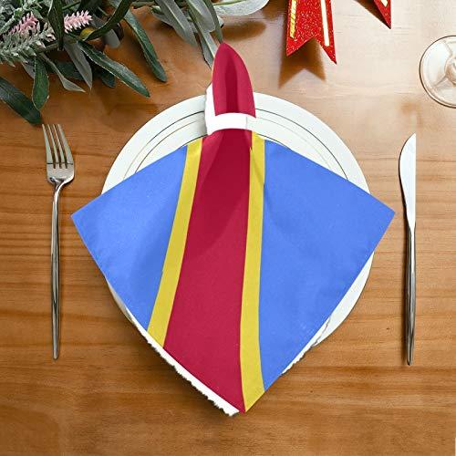 Pac Mac Satin-Servietten, Flagge der Demokratischen Republik, Kongo, Abendessen, Servietten, perfekt für Küchen, Hochzeiten, Partys, Urlaub, Abendessen, Thanksgiving & Weihnachten.