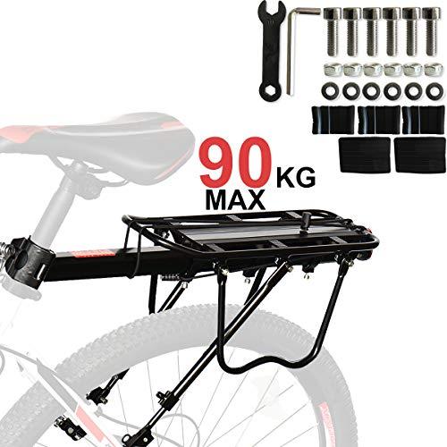 Fuerte AleacióN De Aluminio Material 90Kg Capacidad Bicicleta Estante Trasero, Portaequipajes Para Bicicletas, Anti-CorrosióN Y Alta Dureza Adaptarse A Casi Bicicletas, Bicicleta De MontañA, Etc.