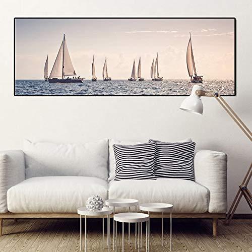 Leinwand-Malerei Innen Nordic Plakat Seestück Segelboot Malerei Kunst Leinwand Druck Wandbilder for Wohnzimmer Hauptdekoration Großbild (Size (Inch) : 30X85cm)