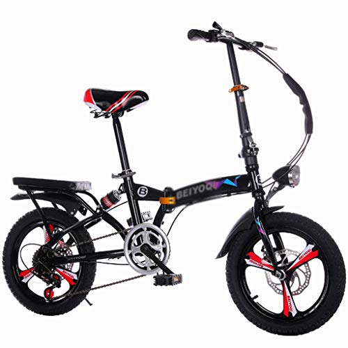 YONGLI Children Folding Bicycle Outdoor Play Bicycle Male and Female Bicycles Suitable for Boys and Girls Shock Absorption Shift Student Bicycle Small Bicycle (Color : Black, Size : 20INCHES)
