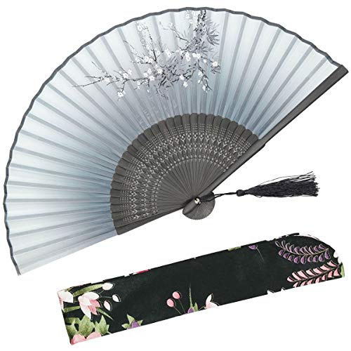 "OMyTea Cold Plum 8.27""(21cm) Women Hand Held Folding Fans with Bamboo Frame - With a Fabric Sleeve for Protection for Gifts - Chinese/Japanese Vintage Retro Style (WDJ-01-Gray)"