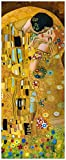 Wallario Glasbild Der Kuss von Klimt - 50 x 125 cm in Premium-Qualität: Brillante Farben, freischwebende Optik