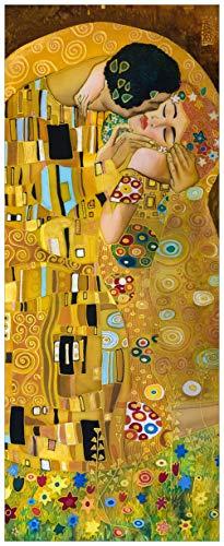 Wallario Glasbild Der Kuss von Klimt - 32 x 80 cm in Premium-Qualität: Brillante Farben, freischwebende Optik