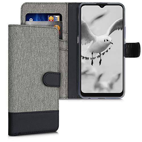 kwmobile Wallet Hülle kompatibel mit Motorola Moto E7 - Hülle mit Ständer - Handyhülle Kartenfächer Grau Schwarz