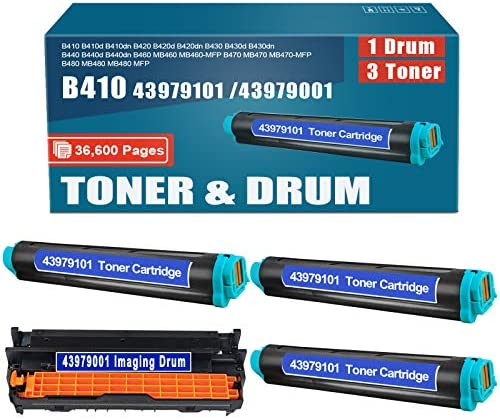 Compatible 3Pack 43979101 Toner and 1Pack 43979001 Drum Replacement for okidata B410 B410d B410dn product image