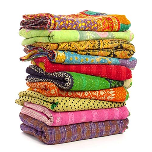 DIYANA IMPEX Wholesale Mix lot Tribal Kantha Quilts Vintage Cotton Bed Cover Sari Throw Old Assorted Patches Rally (1)