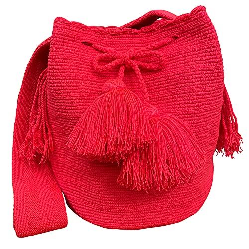 Colombia Wayuu Bolso de color liso, bolso de hombro para mujer Bolso espacioso de un solo compartimento Bolso bandolera para mujer Bolso de mano con asa superior Color 48#