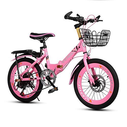 Bicicleta Deportiva De Velocidad Variable para Niños Bicicleta De Montaña para Niños Marco Trasero Y Cesta De Freno De Disco Doble para Niños Y Niñas,Rosado,22inch