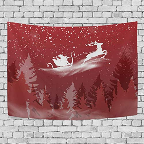 AEMAPE Christmas Santa with Reindeer Silhouette Bedroom Tapestry Exclusive Wall Hanging Multi Purpose Backdrop Hangings for Living Room, Doorway and Kitchen. 60x40 inch-65Y