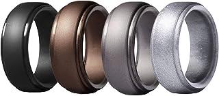 Glupez Silicone&Titanium Steel Wedding Ring for Men Affordable Silicone Set Ring Black Wedding Band