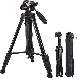 Trípode de cámara de Aluminio de Peso Ligero Ajustable de 59 Pulgadas para la Canon Nikon SonyDSLR Goprotrípode portátil Compacto para ViajarPatas Flexibles Flexibles Placa de liberación rápida