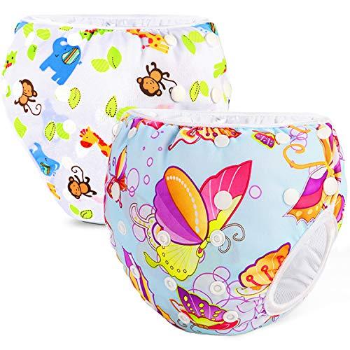 Phogary Pañal Bañador (2 Piezas) Pañal De Natar Pantalones De Entrenamiento, Pañales De Baño Para Niños Niñas 0-3 Años (3-15kg), ZOO tema y mariposa