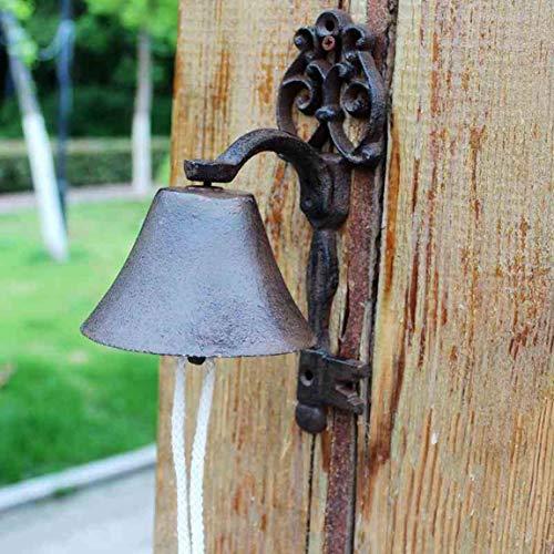 QARYYQ klokken voor huis, tuin, retro, nostalgisch, Europese tuin, van gietijzer, hanger 10 x 14,5 x 20,7 cm, bel