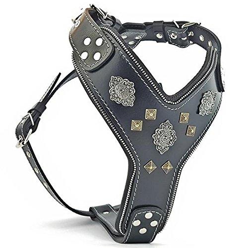 Bestia 'Aztec Black Chest Plate Harness. 2 Tone Rivet Decorations. Zipper Decoration. Foam and Leather Padding Handmade in Europe.