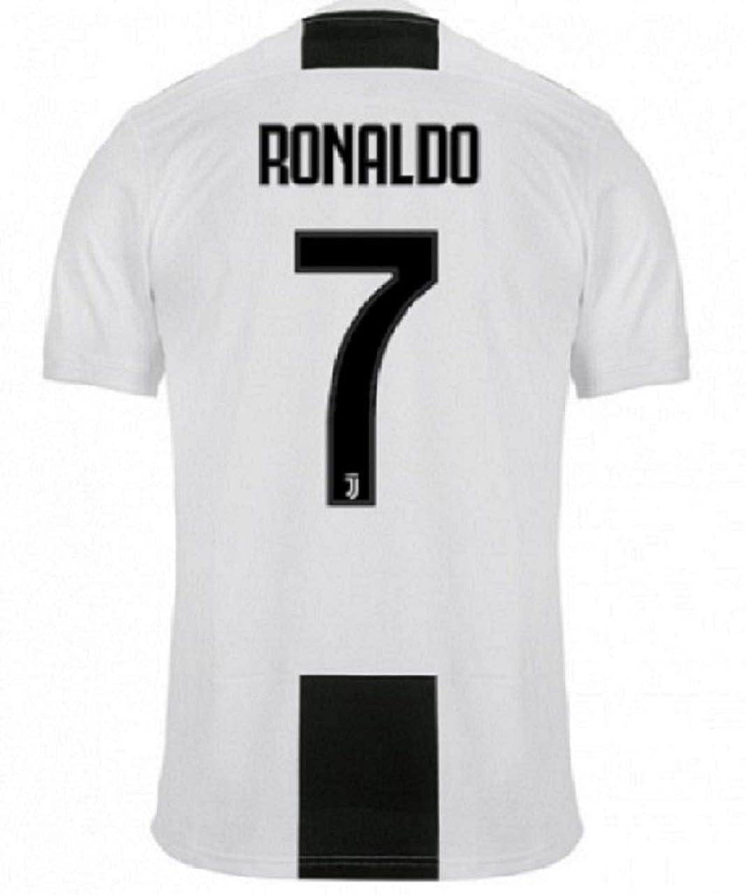 ミキサー力リボン子供用 2018-19 ユベントス Juventus FC?半袖 サッカーレプリカユニフォーム(シャツ,パンツセット)?Ronaldo 7番