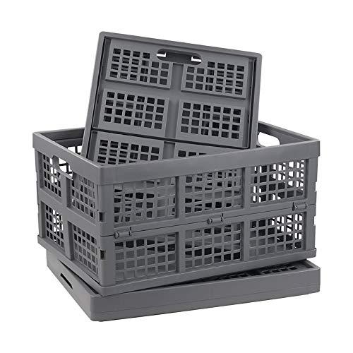 Nesmilers 3 Packs Plastic Collapsible Crates Folding Baskets Organizing Bin 33 L
