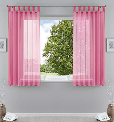 2er-Pack Gardinen Transparent Vorhang Set Wohnzimmer Voile Schlaufenschal mit Bleibandabschluß HxB 175x140 cm Rosa, 61000CN