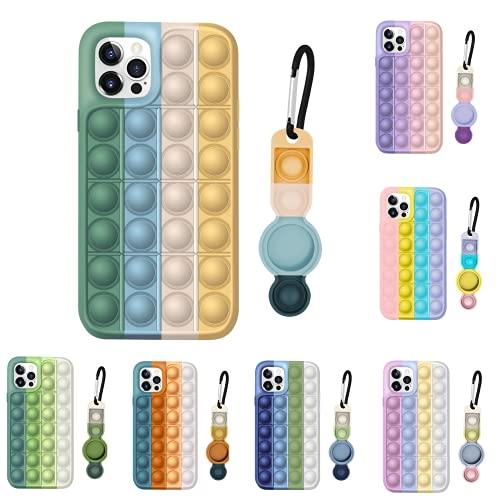 CEKELL ANTSTRESS BUBLE PHONE PHONE POP POP Fidget Toys Presione la caja de silicona de la burbuja para iPhone 11 12 Pro Max 7 8 Plus X y para Airtags Case