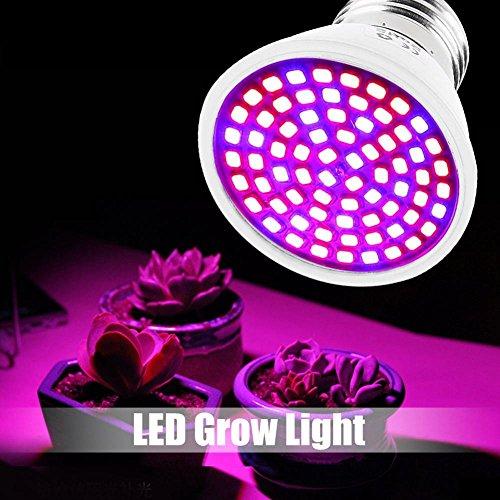 EECOO 36W 72LED Ampoule Lampe de Croissance Eclairage E27 Plein Spectre avec 7 Longueur d'onde AC 85-265V pour des Plantes,des Fleurs et des Légumes Intérieur/de Serre/de Jardin