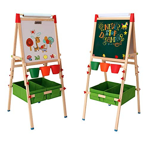 Arkmiido Kids Easel with Paper Roll Double-Sided Whiteboard & Chalkboard Standing Easel with Numbers and Other Accessories for Kids and Toddlers (Green)