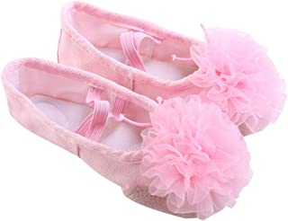 HEALLILY Ballet Dancing Shoes With Gauze Flower Leather Soles Dance Shoes For Kids Size 30 Pink