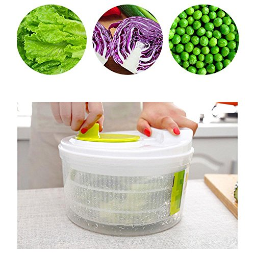 Baiwka Manual Salad Spinner Large Capacity Vegetables Washer Dryer Safe BPA Free Material Quick Dry Design Easy Water Drain System For Kitchen Making Mix Salad And Washing Vegetables Or Fruits