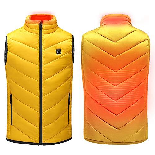 Roboraty Kindervest, USB-oplaadvest, verwarmd vest, elektrische verwarmingsjas voor kinderen, outdoor-reizen warme lichaamskleding, wasbaar school en skiën, wintervest Height160cm geel