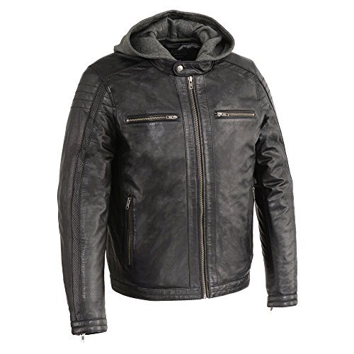 Milwaukee Leather SFM1845 Men's Black Leather Jacket with Removable Hoodie - 2X-Large