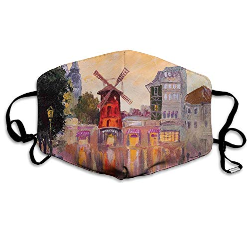 Unisex Anti-Dust Mouth Mask, Painting of Moulin Rouge in Paris City Centre of Love Vintage France Art Print.jpg