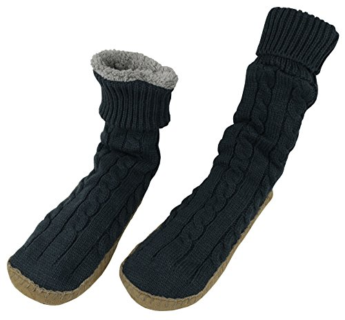 N'Ice Caps Women's Cable Knit Slipper Socks with Non-Skid Gripper Soles (Medium (9.5