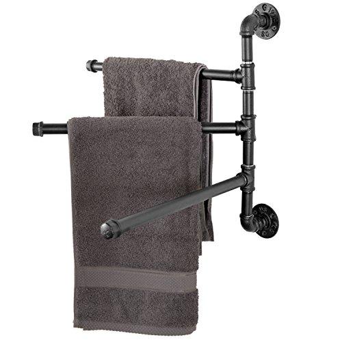 MyGift Wandmontage Industrie Rohr 3-Arm Drehgelenk Handtuch Bar Rack, schwarz