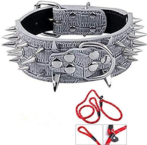Ecloud Shop Grau PU Leder Hunde Halsband Hundehalsband Punk Stil mit Nieten einstellbar S