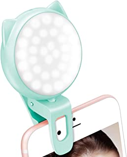 Selfie Ring Light for Camera and Phone, LED Rechargeable Clip on Ring Lights with 3 Adjustable Brightness, 32 Bulbs, Mini,USB, 360° Rotation,Portable Fill Light for Makeup, Laptop/iPhone/Tablet/-Blue