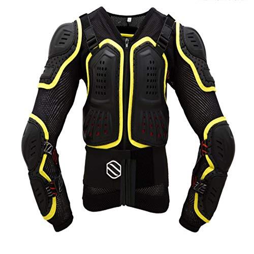 Abbigliamento Protettivo Giacca da Moto da Motociclista con Protezione Integrale PRO Street Giacca da Motocross con Protezione for la Schiena Nero Giallo JFCUICAN (Color : Nero, Size : S)