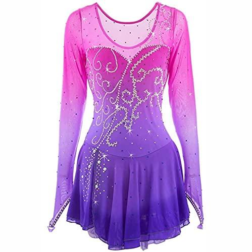 XRDSHY Vestido de Patinaje artístico Profesional para niñas Mujeres Vestido de competición de Patinaje sobre Hielo Traje de Baile de Manga Larga,Purple-Child-10
