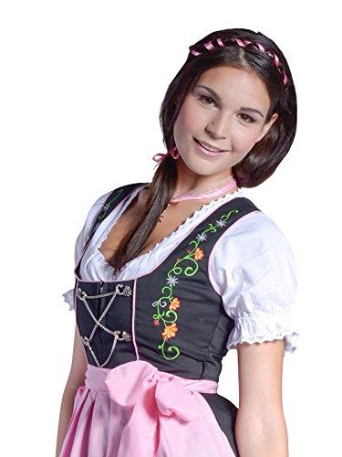 donnerlittchen! Mini- oder Midi-Dirndl Emily inklusive Bluse und Schürze schwarz mit bunter Stickerei Trachtenkleid, Größe:32;Länge:Midi-Dirndl (Wadenlänge)