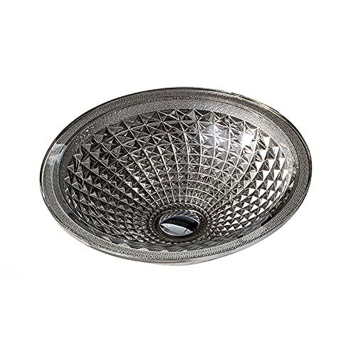Lujoso Plata Lavabo de Cristal, Lavabo de Vidrio Sombrero Redondo Lavabo sobre Instalación en Encimera Lavabo sobre para Baño, 415mm*415mm*140mm,Single Sink