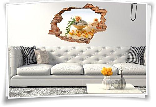 Medianlux 3D muurdoorbraak muurschildering muursticker sticker wellness rozen bloesem stenen schaal ontspanning