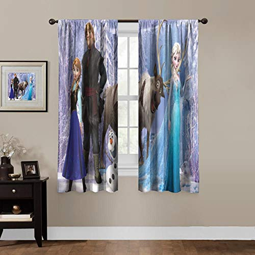 Anime Blackout Curtains,Anna Elsa Frozen 2 Kristoff Olaf,Room Bedroom Blinds - Solid Thermal Insulated Window Treatment,Soundproof Shade Curtains for Boys and Girls Room Décor (2 Panels,55x45 inches)