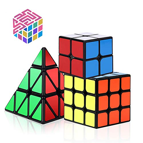 Vdealen Speed Cube Set, Magic Cube Set of 2x2x2 3x3x3 Pyramid Smooth Puzzle Cube Smooth Sticker Cubes Collection Puzzle Toy for Kids