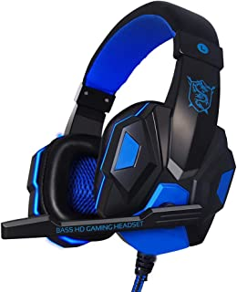 Headphones,pc headphones - Wired Gaming Headset Headphone for PS4 Xbox One Nintend Switch iPad PC blue