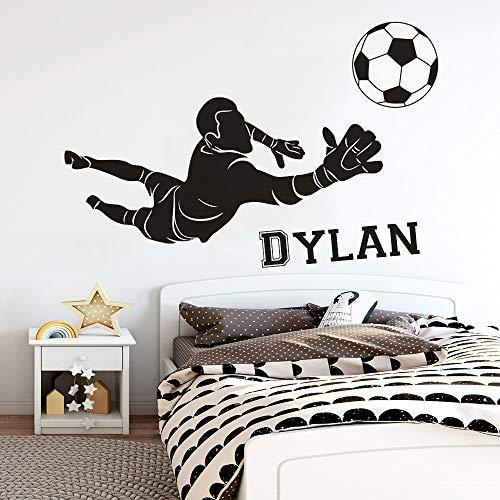 Pegatina de pared de portero de fútbol, nombre de niño, decoración del hogar, calcomanía de vinilo para el aula de los niños, pegatina de pared A9 57x37cm