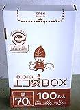 ゴミ袋 ECOTAI ECO 箱タイプ 100枚エコマーク付き70L 800x900x0.040厚 黒 100枚x4箱 LLDPE素材 HK-720eco