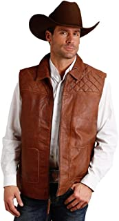 Stetson Mens Chestnut Leather Diamond Quilted Vest XL