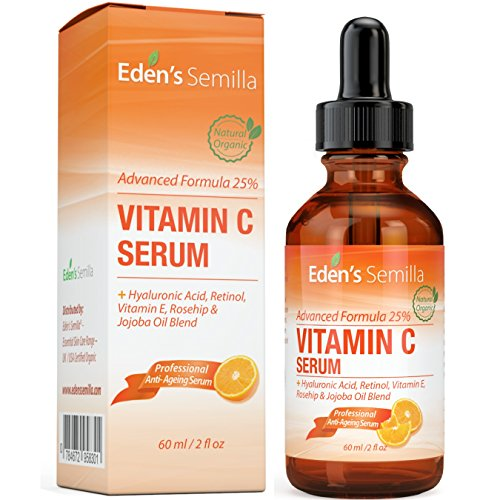 25% VITAMIN C SERUM 60ml - A POWERFUL ADVANCED FORMULA - Hyaluronic Acid, Retinol, Vitamin E and Rosehip & Jojoba Oil Blend. Best anti-aging serum for the face - promotes the skin's natural defences, replaces lost moisture and dramatically reduces fine lines and wrinkles. A natural blend of clinically proven ingredients. Firmer, softer healthier looking skin.