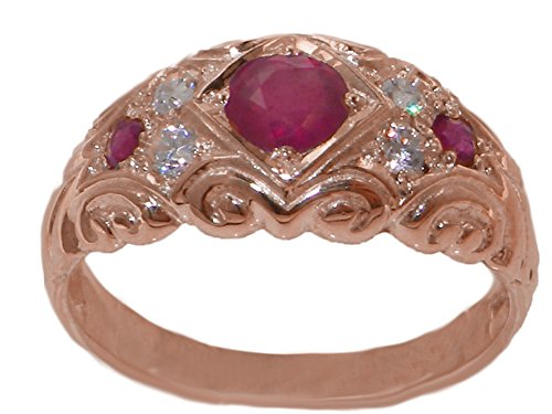 Solid 9ct Rose Gold Natural Ruby & Diamond Vintage Style Band Ring - Size X