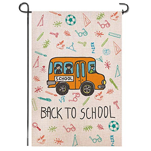 Shmbada Back to School Burlap Garden Flag, Double Sided Premium Material, School Supplies Yellow Bus Outdoor Home Yard Lawn Kids Decorative Banner for Porch Patio Farmhouse, 12.5 x 18.5 Inch